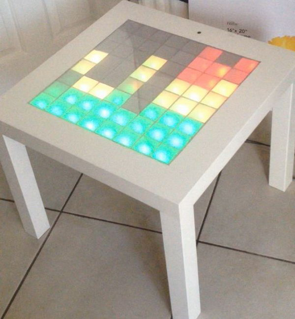 IKEA Hack Music Visualizer Table.  With little imagination, we can have the coolest  music visualizer table  with a simple IKEA LACK table and some LED lights. When music is played near it, it  will light up. Do you want to own one? Check here for the full tutorials. But you should know know ahead that this project is really labor intensive. But it turns out to be very fabulous.