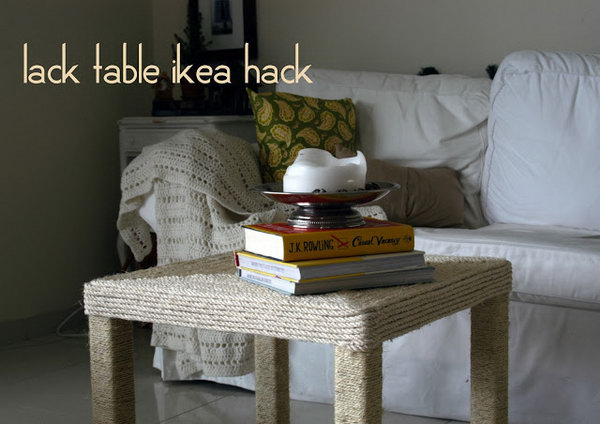 Rope wrapped Coffee Table. Refashion  your Lack coffee table from IKEA by wrapping both the tabletop and legs with nautical rope. See more