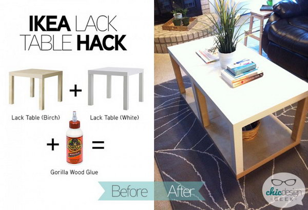 Ikea Table Hack with More Storage. You can easily turn two simple IKEA LACK tables together into a bigger one with more storage. When you want to clear the top out, you can put the stuffs under the bottom shelf. Get more details