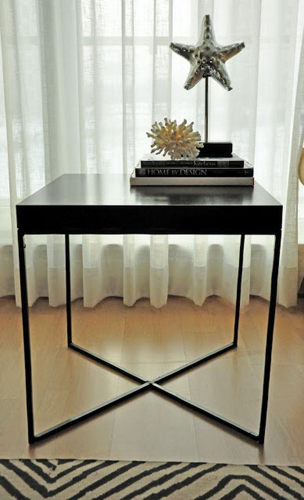 Modern Welded Table. This creative welded table is made with the wood tabletop from an IKEA LACK table and the X shaped metal frame as the table legs. It's simply chic and perfect for any room of your house. See more details