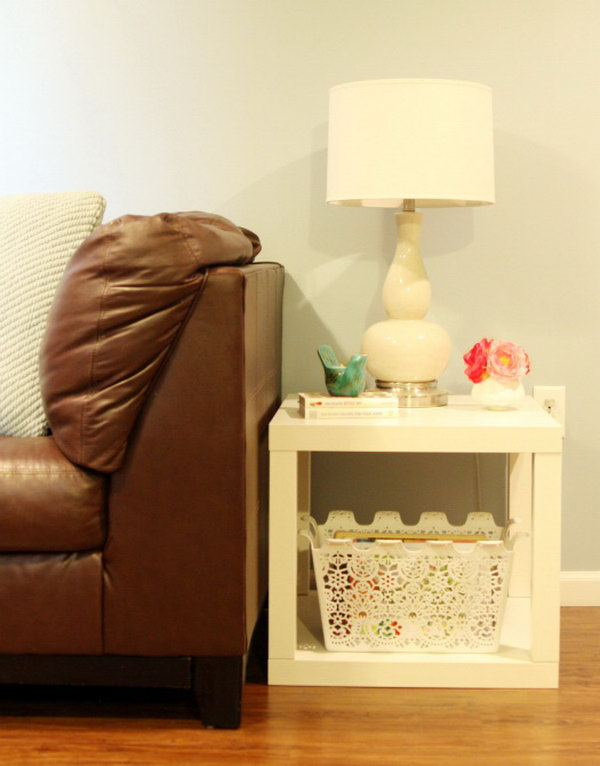 Budget friendly Parson Side Table. Such a clever idea to use IKEA LACK side table. Put two LACK tables from IKEA to create one super awesome parsons side table like this. It's very practical in the guest room or any other room.Here's the tutorial for your reference.