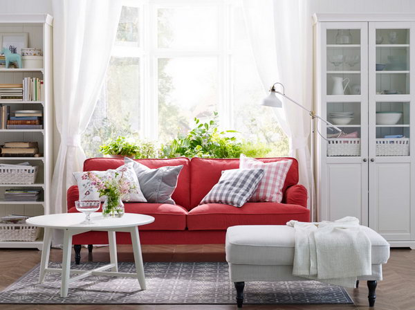Red White Living Room Is Always Related With Passion In This