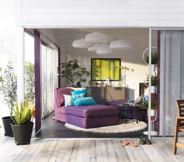 Romantic & Glamorous IKEA Living Room. Purple and white are a fantastic color combination. Purple sofas , white lights plus some potted plants add a touch of romance and comfy to this living room. Besides, the big glass door is really a fantastic design and bring more brightness. Love everything in this living space.