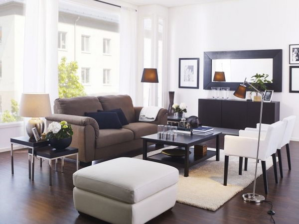 With distinctive frames and shapes, mirrors can really enhance your décor. Larger wall mirrors, or smaller ones grouped together, make this living room look brighter and bigger.