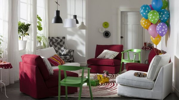 Living Room Cheered Up By Colors Bring Some Brightness Into Your Small With