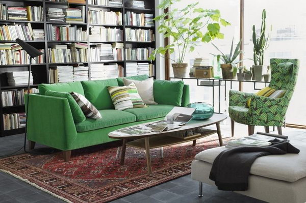 A Living Room Inspired by Nature. Loving the organic color schemes in this living  room - 15+ Beautiful IKEA Living Room Ideas - Hative