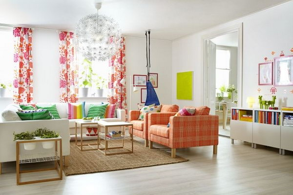 Living Room With Spring Colors. Beautiful Curtains, The Brown Sofa And The  Rainbow Pillows Part 57