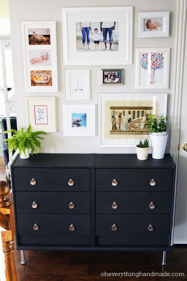 A Modern Version for the Hallway with this simple and inexpensive IKEA Rast 3 drawer chest. Check the details