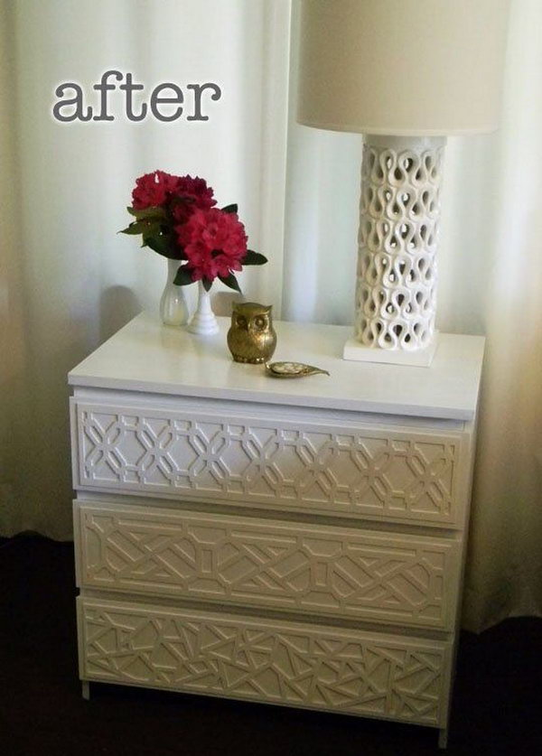 IKEA Rast Makeover with O'verlays. O'verlays are decorative fretwork pieces made of a semi rigid composite material that you can use to adorn basic furniture pieces. This transformation was achieved by adding an intriguing new product called O'verlays to an Ikea Rast.