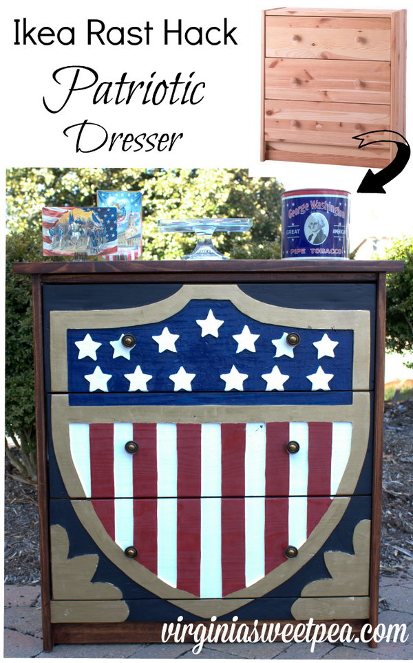 Patriotic Dresser – Ikea Rast Hack. See the step by step instructions
