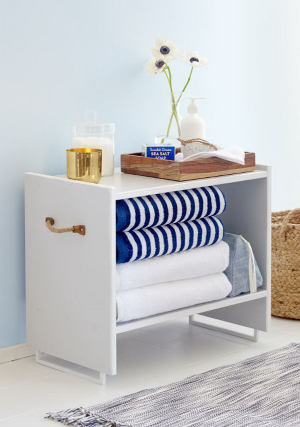 Ikea Nightstand into Adorable Bathroom Storage. Get the instructions