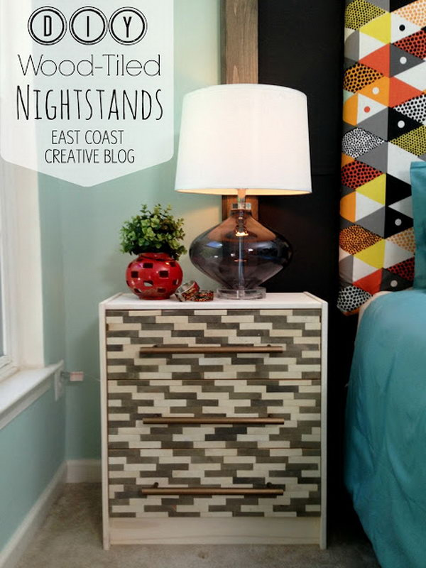 DIY Wood Tiled Nightstands. Get yourself some seriously styling, high end looking nightstands at a great price with the instructions