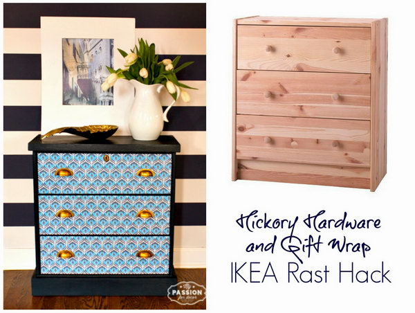 Gift Wrap & Hardware IKEA RAST Hack. With just a little paint, new hardware, colorful paper, your simple IKEA RAST chest will get a new look. Check out the tutorials