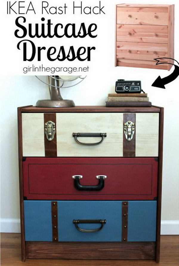 A Suitcase Dresser Makeover from an IKEA Chest of Drawers. Get the instructions