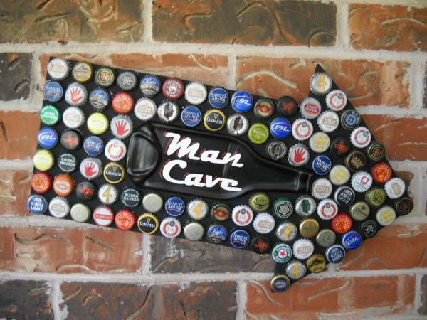 Man Cave Sign Beer Bottle Caps Mosaic with Melted Beer Bottle