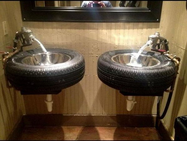 Repurposed Tire Sink