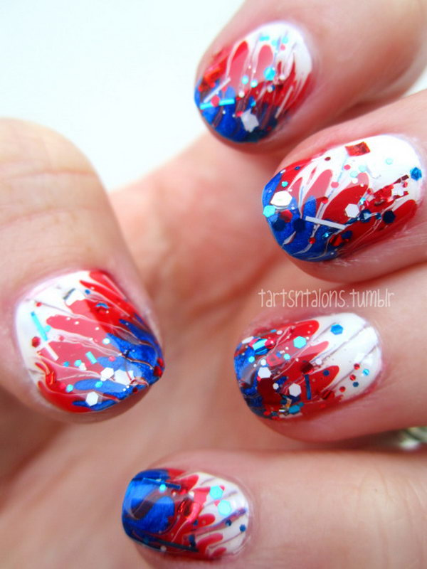 Freedom Calling Fireworks Inspired Nail Art: This free spirited nail art is very simple to recreate and will look just as cute when the holiday is over. See the tutorial