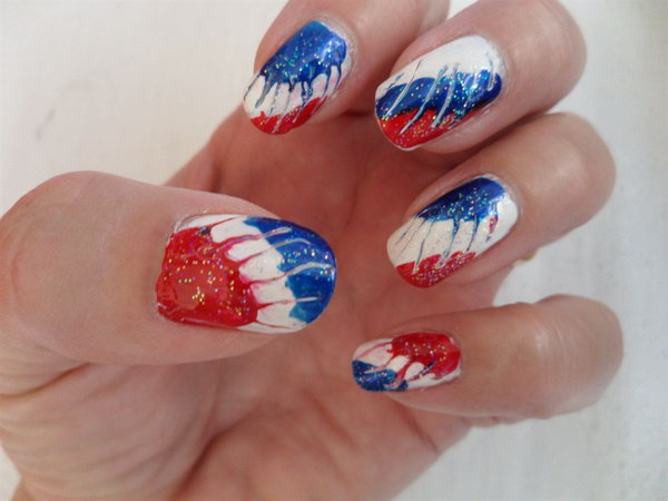 Patriotic Needle Marbling Nail: Copy this this sparkling look with glitter, a needle, and nail art brushes!
