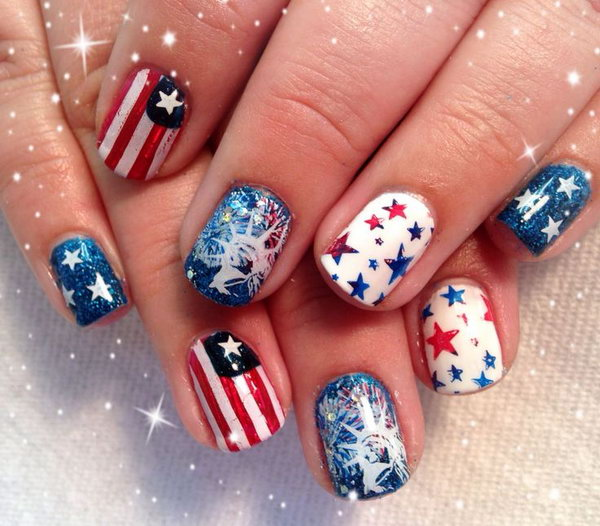 4th of July Fireworks, American Flag and Statue of Liberty Nail Art