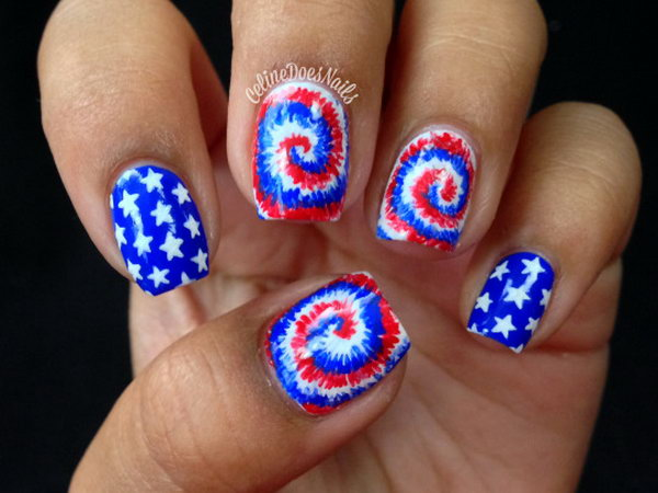 Cute Stars and Fireworks Nail Design