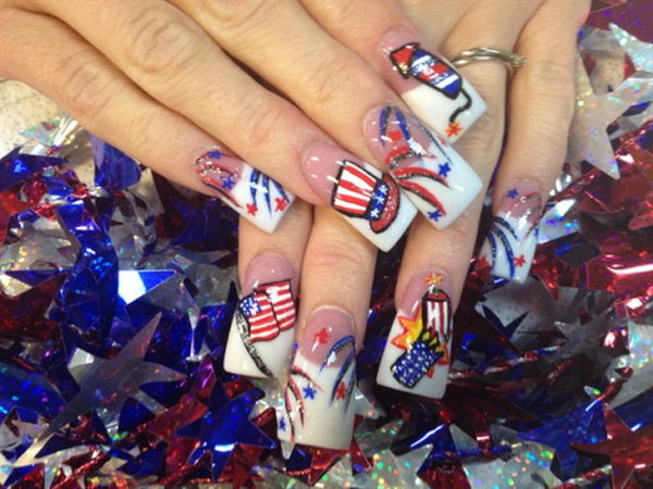 4th of July Firecrackers and Uncle Sam Hat Theme Long Nail Design