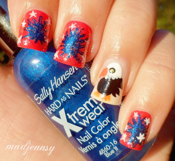 Red, Blue, White and American Eagle Nail Art: This cute nail art with eagle and fireworks on it is so cute and different. See this video tutorial here.