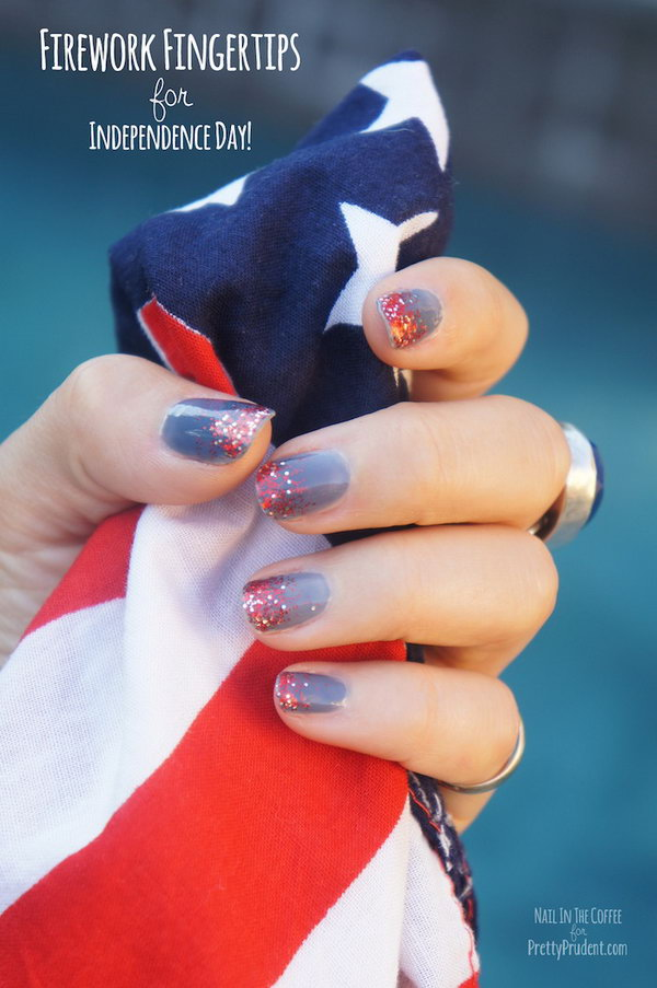 4th of July Abstract Fireworks Mani: With the red glittery sequins sparkling on the top of gray blue base, it's the time to break out the white, red and blue tones and have a unique patriotic look.