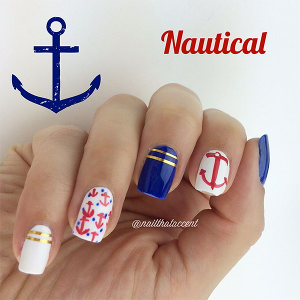 Clean and Cute Patriotic Nautical Long Nails:  With the classic nautical color theme of red, white and blue, they used gold striping tape as accents for the nautical nails and hand painted the anchors and polka dots. And the result is really fantastic. See the tutorial