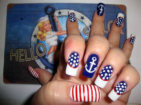 Style Statement with Patriotic Sailor Long Nails