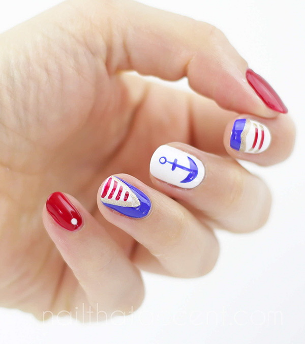4th of July Nautical Nails: Clean and summery look. Check out the tutorial