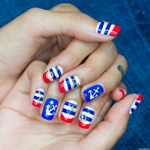 Patriotic Nautical Nail Art - 20+ Beautiful Patriotic Nautical Nail Art Ideas - Hative