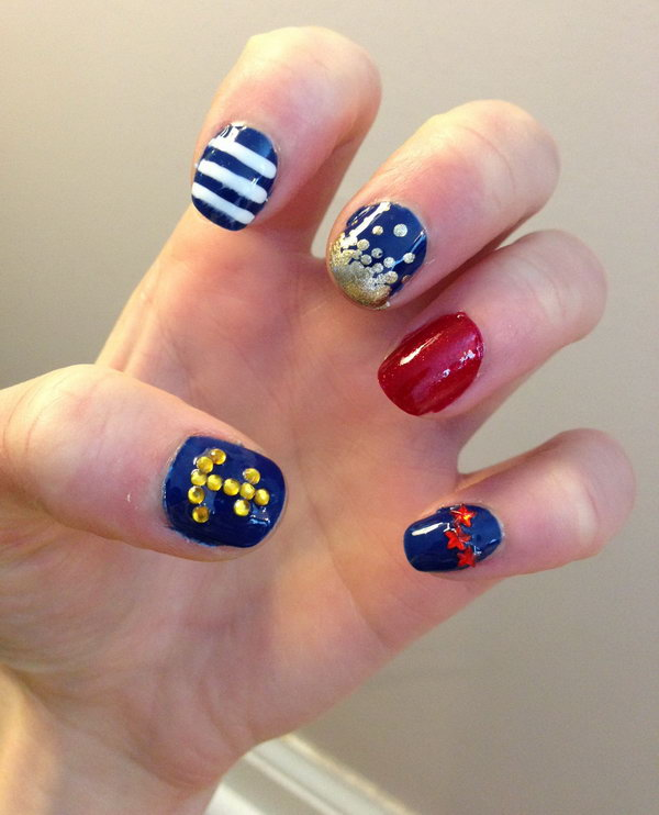 Nautical 4th of July Glitter Nails