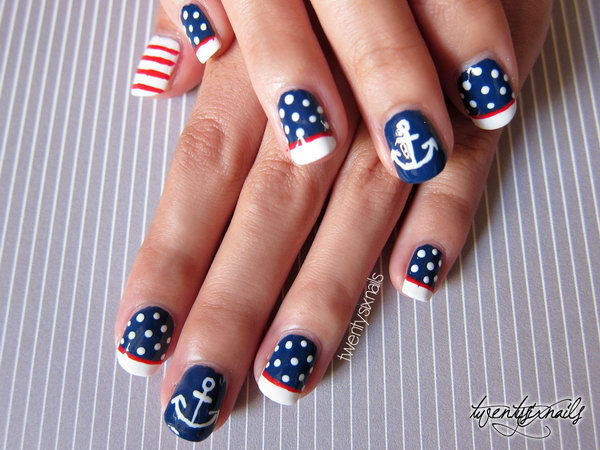 Patriotic Polka Dots, Stripes and Anchor Nail Art: With this very cute and vintage manicure, you can create a great 4th of July nails look that is beautiful and unique, but totally shows some love on the Fourth of July.