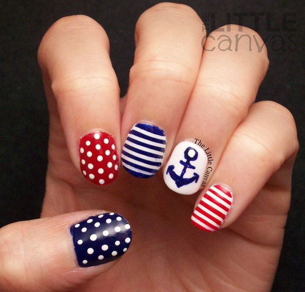 4th of July Dots, Stripes and Anchor Nautical Nail Art: It looks so cute. I love the different colored striped with dots and an anchor nails very much. See the tutorial