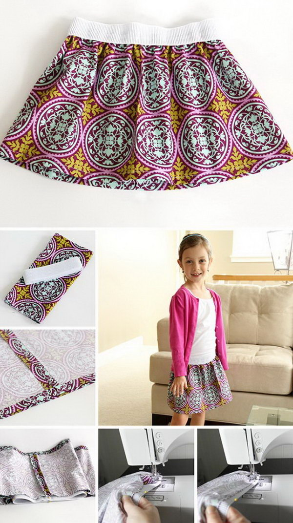 Elastic Waist Skirt. Kids' clothes cost a lot of money.  Sewing clothes for your growing kids can be a real money saver.This elastic waist skirt is super easy to sew. It is also a fun sewing project for beginners. You can make some in different sizes as you need