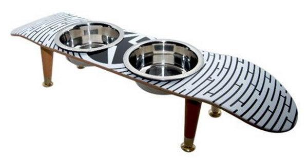 Upcycled Skateboard Dog Dishes