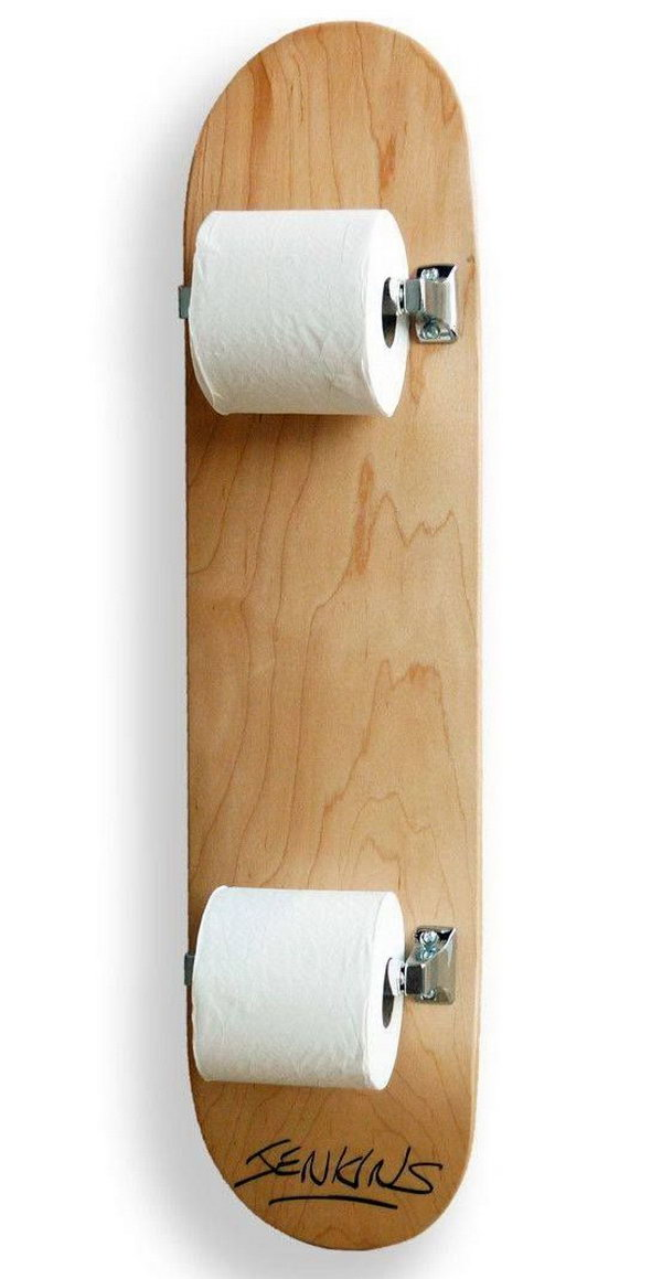 Attractive Skateboard Ideas Part - 6: Skateboard Toilet Paper Holder