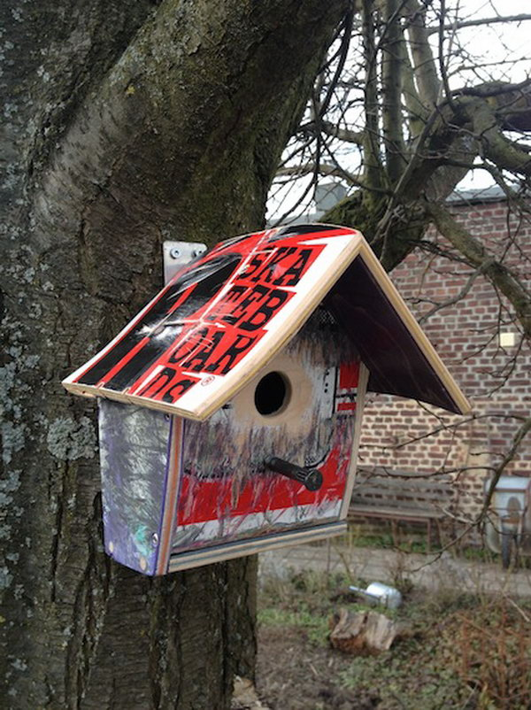 Repurposed Skateboard Birdhouse: When repurposing your skateboard, don't forget your little cute birdie. How awesome are these birdhouses made from recycled skateboards. I want one like that in my backyard.