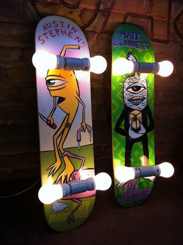 20 fun and creative skateboard upcycling ideas hative for Lampen jugendzimmer