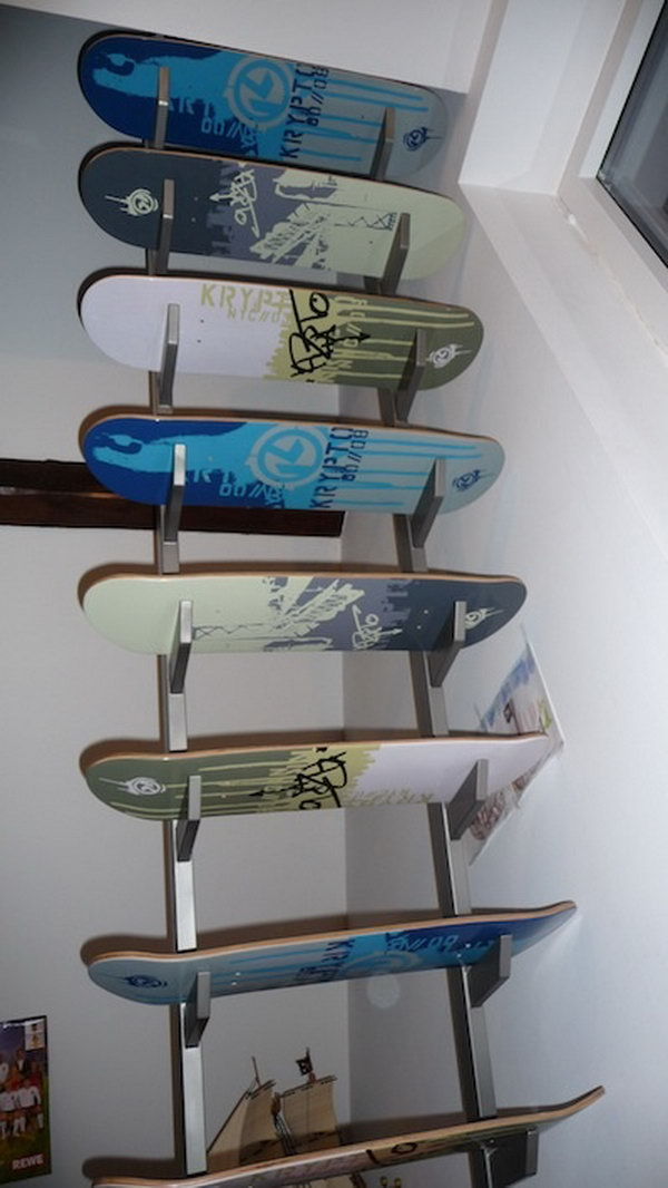 20 fun and creative skateboard upcycling ideas hative recycled skateboard decks stairs solutioingenieria Gallery