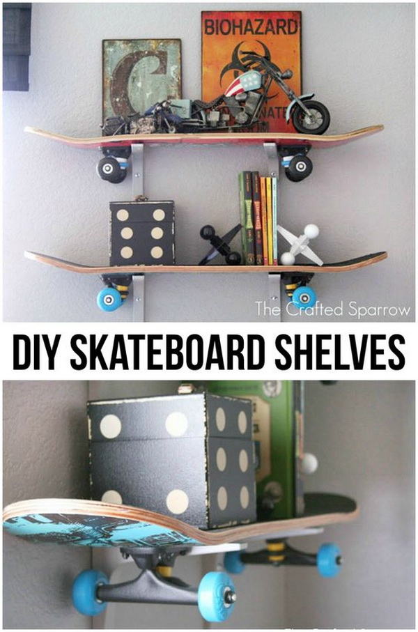 20 fun and creative skateboard upcycling ideas hative for Diy room decor for 8 year olds