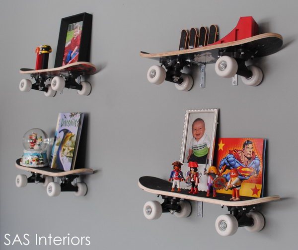 20 fun and creative skateboard upcycling ideas hative repurposed skateboard shelves solutioingenieria Gallery