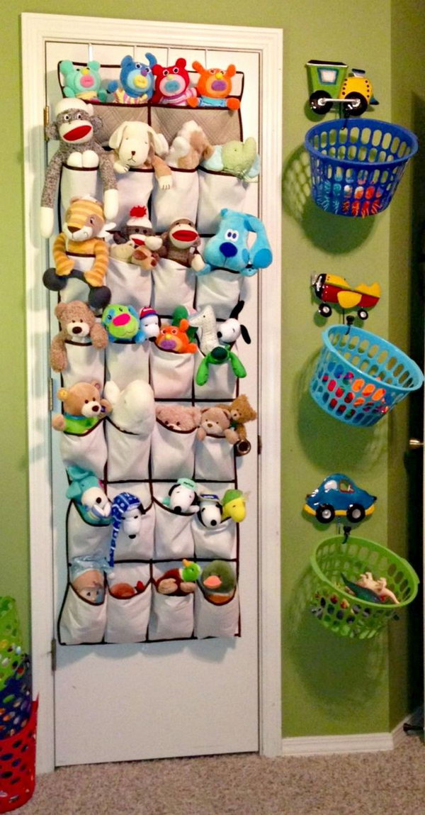 Stuffed Animals In Shoe Organizers And Hang Laundry Baskets For Toys  sc 1 st  Hative & 25 Clever u0026 Creative Ways to Organize Kidsu0027 Stuffed Toys - Hative