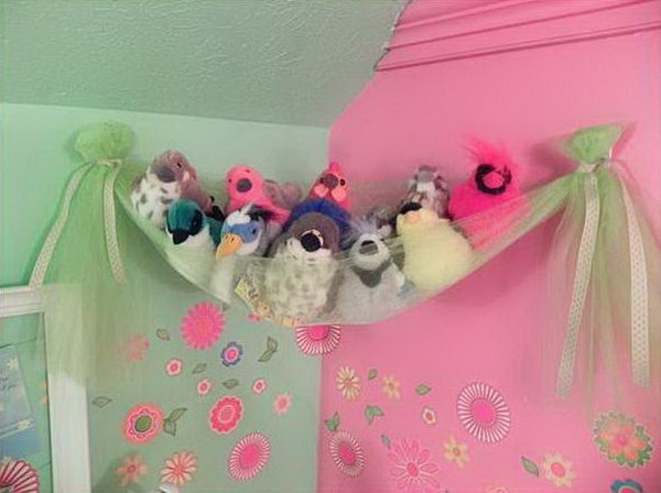 tulle hammock storage 25 clever  u0026 creative ways to organize kids u0027 stuffed toys   hative  rh   hative