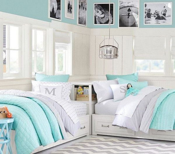 40 cute and interestingtwin bedroom ideas for girls hative for Small bedroom double bed ideas