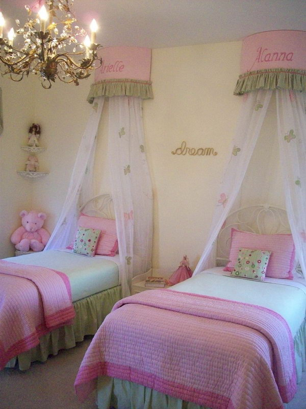 40 cute and interestingtwin bedroom ideas for girls hative - Pics of beautiful room of girls ...