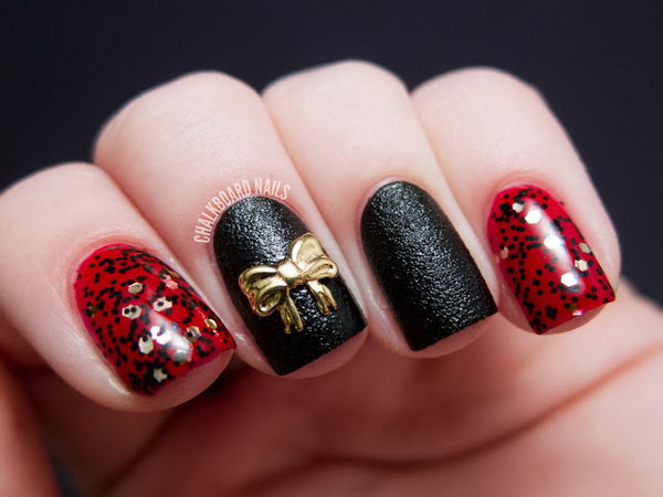 45 wonderful bow nail art designs hative gold bow nail design prinsesfo Images