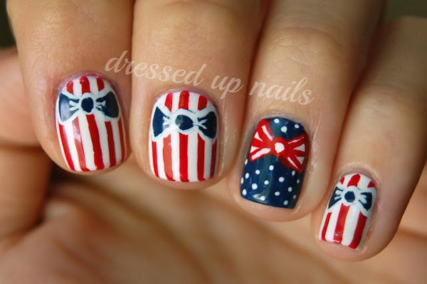 4th Of July Nail Design with Pretty Bows. Get more directions