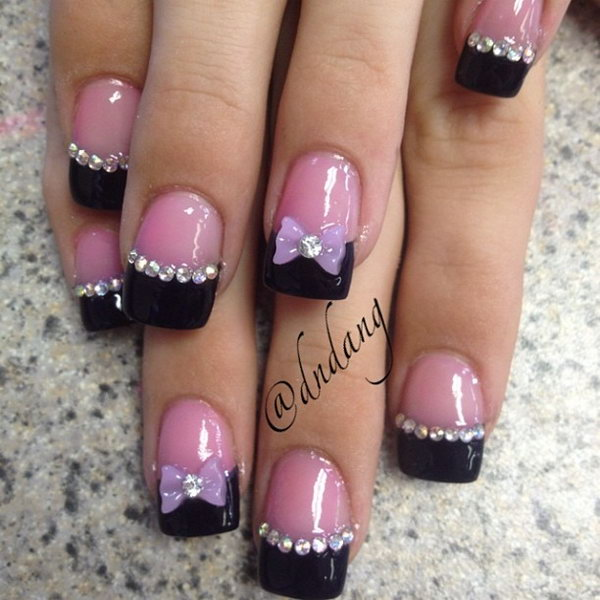 Black Tips Nail with Gems and Bows.
