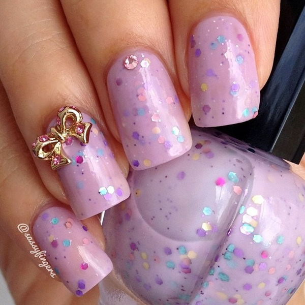 45 wonderful bow nail art designs hative pink and sequined nail with gold bows prinsesfo Choice Image